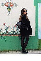 black mesh Sheinside sweater - black Zero UV glasses - crimson H&M skirt