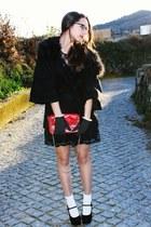 black Primark pumps - black lace Primark dress - black Muack Muack coat