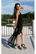 black maxi dress VJ-style dress - black milanoo wedges