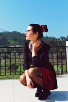 black glitter collar Sheinside blouse - crimson pull&bear scarf