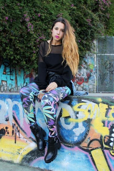 sky blue leaf Sheinside leggings - black platform Zara boots