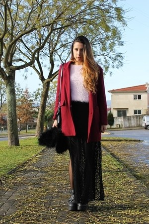 black sammydress boots - crimson Chicwish coat