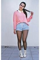 Zara sweater - Stradivarius boots - denim DIY shorts
