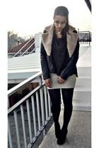 black leather Zara jacket - gray Stradivarius skirt - black BLANCO wedges