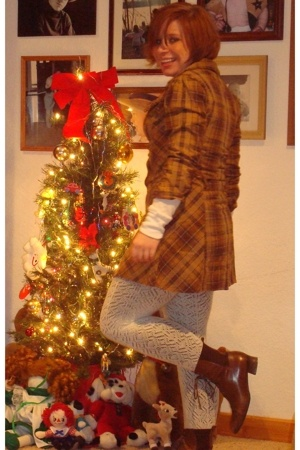 thrift dress - forever 21 shirt - forever 21 tights - thrift boots - Burlington