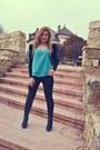 Blue-blue-new-yorker-boots-black-blazer-dd-ii-blazer