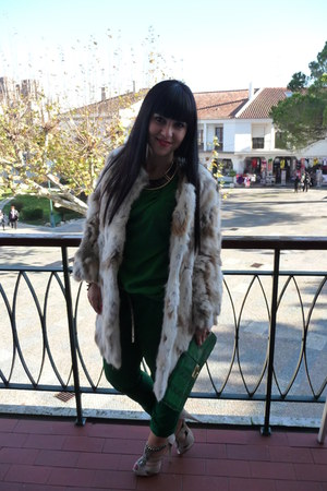 green asos bag - beige Sfera coat - green Sfera pants - green Sfera blouse