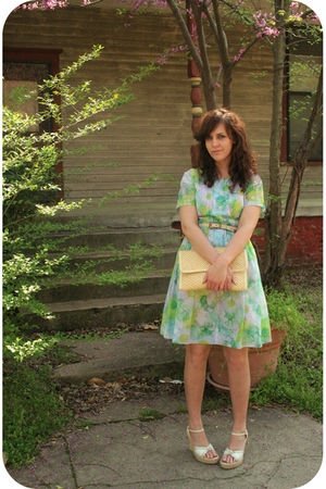 green Ebay dress - yellow thrift shoes - yellow thrift purse