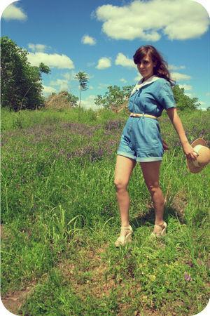 blue thrift pants - beige thrift hat - beige thrift shoes
