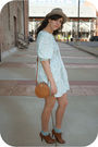 Blue-thrift-dress-beige-estate-sale-hat-blue-target-socks-brown-f21-shoes-