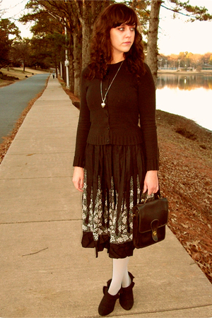 Gap cardigan - thrift dress - Urban Outfitters boots - vintage Coach purse