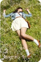 brown Savers bag - brown Savers shoes - blue OLD jacket - blue Savers blouse
