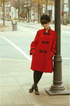 red estate sale coat - black estate sale hat - Rue 21 shoes - black