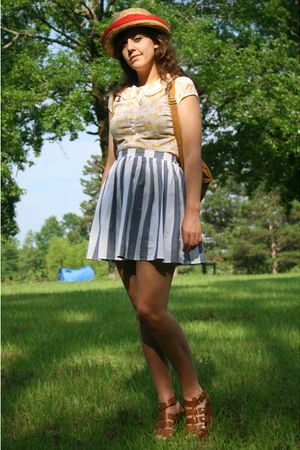 blue American Apparel skirt - brown Cynthia Vincent for Target shoes - brown bag