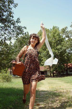 brown Savers dress - brown thrift purse