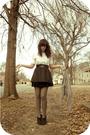 White-thrift-shirt-black-wet-seal-belt-black-miley-cyrus-for-walmart-skirt-