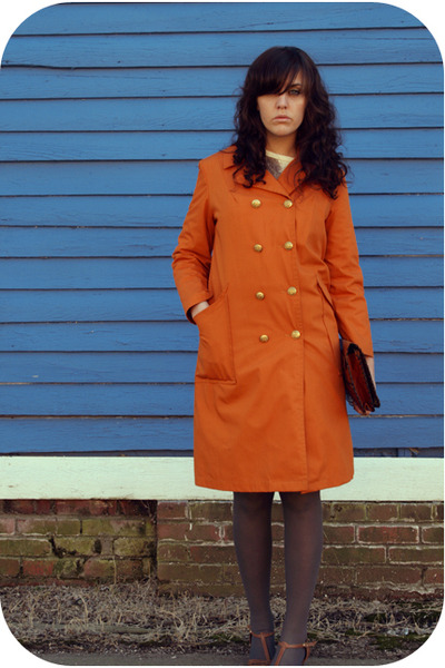 orange trench coat Savers coat - brown a friends shoes