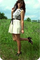 black paddywacks vintage dress - white Savers skirt - black Urban Outfitters sho