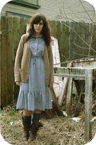 blue Etsy dress - beige boyfriends  cardigan - brown Goodwill boots - blue thrif