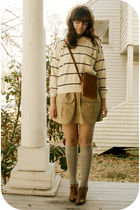 white Savers sweater - beige Savers skirt - white thrift hat - brown f21 shoes -