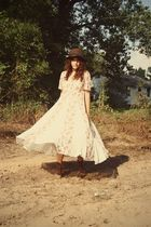 white thrifted dress - brown thrifted hat - brown thrifted boots