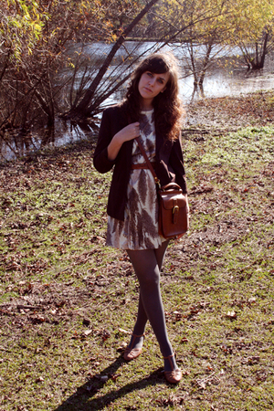 brown dress - brown blazer - gray tights - brown purse - brown shoes