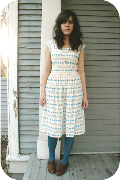white estate sale dress - blue Walmart tights - brown Goodwill shoes