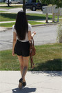 Black-oxfords-shoes-brown-bag-black-shorts-white-classic-trims-blouse