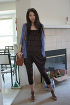 brown Forever 21 bag - brown wedges - dark brown layer jumper - brown glasses -