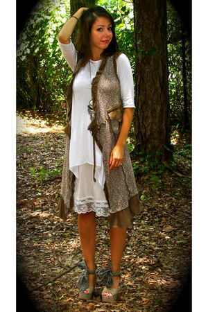 brown modcloth dress - white Forever21 dress - beige vintage skirt - beige Pierr