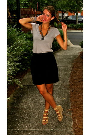 green Loft t-shirt - black American Apparel skirt - beige surface to air shoes -
