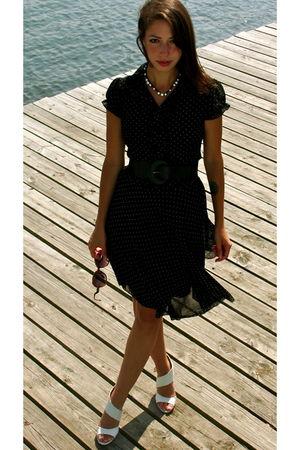 blue Forever 21 dress - black Urban Outfitters belt - white loeffler randall sho