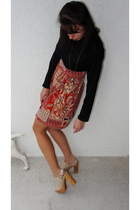 red vintage dress - beige Jeffrey Campbell shoes - gold H&M accessories