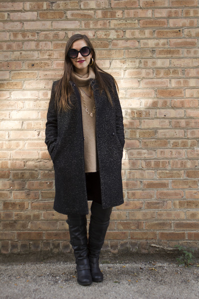 black Macys boots - black wool H&M coat