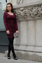 black Steve Madden heels - magenta Club Monaco dress - ivory Club Monaco bag