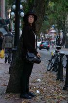 black H&M hat - black H&M sweater - white Forever 21 shirt - black Mavi jeans -