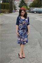 navy Anthropologie dress - brick red Christian Louboutin shoes - blue La Vie Par