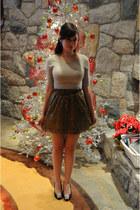 cream Talula Babiton shirt - gold J Crew skirt - black Steve Madden heels