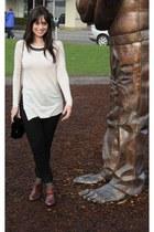 brown Aldo boots - cream BCBG sweater - black HUE tights - black vintage purse -