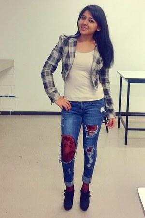 navy Bershka jeans - eggshell plaid Zara jacket - crimson lace Forever 21 tights