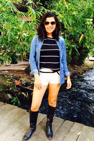 black stripes Zara t-shirt - black horse riding unknown boots