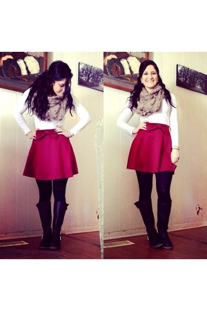 brick red Charlotte Russe skirt - black boots