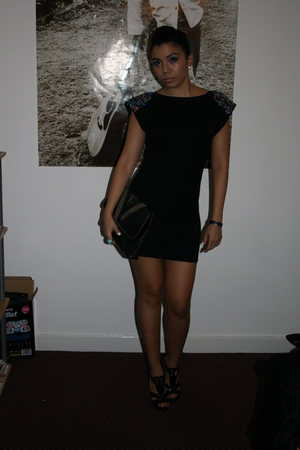 black asos dress - black Steve Madden shoes - black Miss Selfridges purse