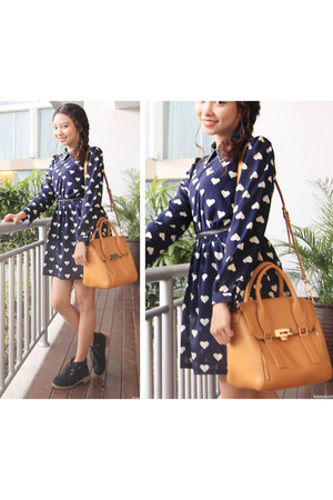 black black boots Bugis Street boots - navy The Closet Lover dress