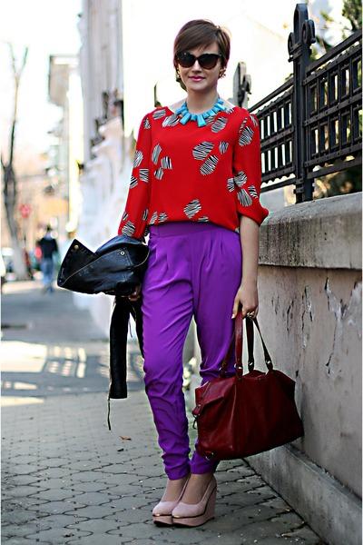 deep purple River Island pants - red vintage blouse