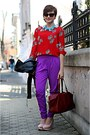 Deep-purple-river-island-pants-red-vintage-blouse