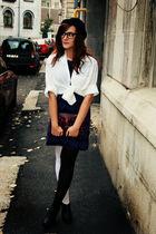 purple H&M dress - black Jeffrey Campbell shoes - white American Apparel stockin