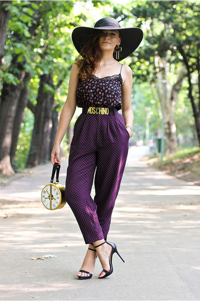 gold round Choies bag - black Zara shoes - deep purple polka dots thrifted pants
