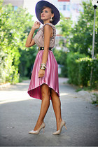 hot pink pleated River Island skirt - nude OASAP shoes