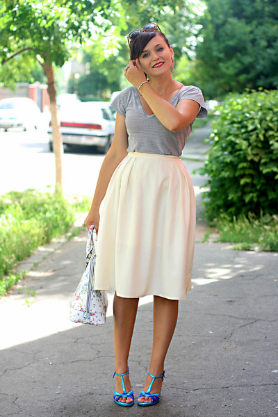 cream full thrifted vintage skirt